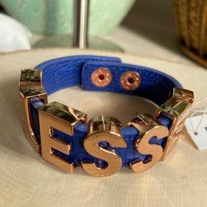 🔥NWT BCBGGeneration BLESSED Blue Gold Bracelet